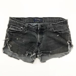 Levi Jean Shorts Black Faded Worn Ripped Rugged 13